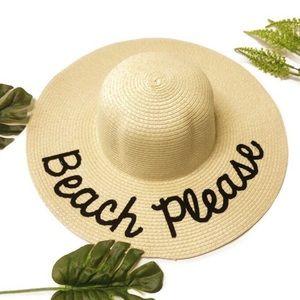 Beach Please Woven Straw Sun Hat